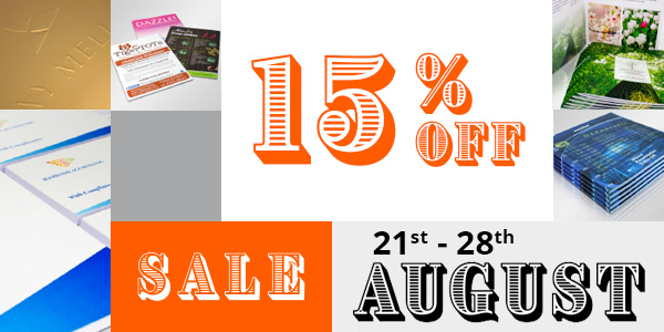 15% OFF SALE 21st - 28th August
